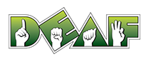 DEAF, Inc. Logo with its url: www.deafinc.org